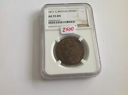 1871 Great Britain Penny Ngc Au 55 Brown