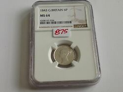 1843 Great Britain Sixpence Ngc Ms 64