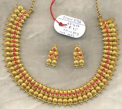 Vintage solid 22 carat Gold Necklace & Earring pair Set South India