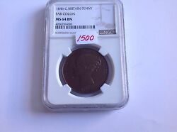 1846 Great Britain Penny Far Colon Ngc Ms 64 Brown