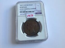 1849 Great Britain Penny Ngc Xf Details Environmental Damage Key Date