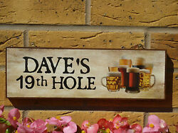 Personalised Garden Sign Golf Sign Golfers Sign Golfing Sign 19th Hole Beer Sign