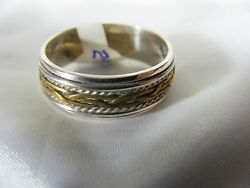 Spin Ring:  925 Sterling Silver with a gold band