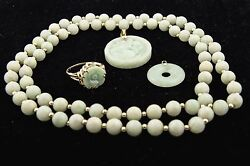 Rare Authentic Antique 14kt Yellow Gold Jade Pendant Ring Necklace Jewelry Set