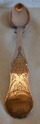 Early / Mid 19th Century 12 Loth Sterling Silver - Gilt Engraved Spoon - 33 Gr