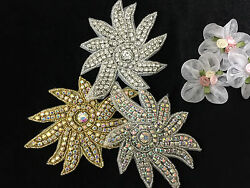 BEAUTIFUL CRYSTAL  MOTIF DIAMANTE APPLIQUES IRON ON BRIDAL FABRIC PATCHES