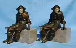 Vintage Pair Of J. B. Hirsch Cast Spelter Pirate Bookends With Celluloid Faces