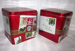 Starbucks Collectible Empty Tin Set Of 2 Red Square 6 X 6 Cans Cookies Stash