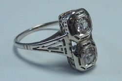 14k White Gold Filigree 2 1/3 Ct. Mid 70and039s Mine Cut Diamond Ring Size 8