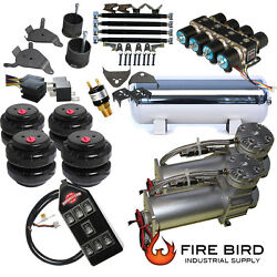 D Chevy S10 Air Kit Pewter 2500 Bags 1/2 Valve Black Avs 7 Switch 5 Gal