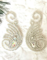 BEAUTIFUL CRYSTAL MOTIF DIAMANTE APPLIQUE PATCH IRON ON BRIDAL DRESSES