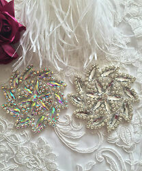 A GRADE CRYSTAL MOTIF DIAMANTE APPLIQUE IRON ON BRIDAL FABRIC PATCH