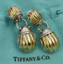 And Co Large Scarab Sterling Silver 18k Yellow Gold Body Clip On Earrings