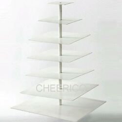 7 Tier White Square Pole Acrylic Cupcake Stand Cup Cake Tower Tree
