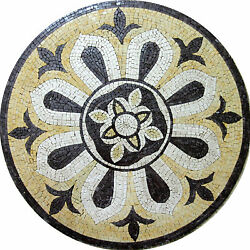 Calm Round Medallion Motif Design Floor Pool Garden Home Marble Mosaic MD549