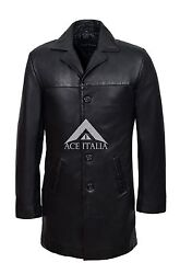 Menand039s Black Knee Length Coat Real Nappa Leather Casual Leather Jacket Coat 3476