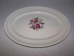 Johnson Brothers Old English 12 1/4 Inchn Serving Platter - Blue Stripe And Roses
