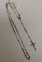 Antique Estate Sterling Silver Crystal Rosary Vintage. Italy 925