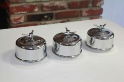 Mushroom Smooth 2 Barrel Low Profile Air Cleaners 3 Wing Nut Hot Rat Rod Truck