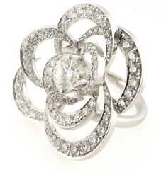 New Well Made 2.43ctw. Diamond Flower Ring in 18K White Gold Size 5 9.5 gram