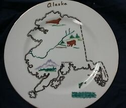 Hand Painted Alaska Clarence Bone China Plate State Collectible