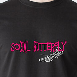 Social Butterfly Talk Party Drunk Drinking Woman 69 Vintage Retro Funny T-shirt