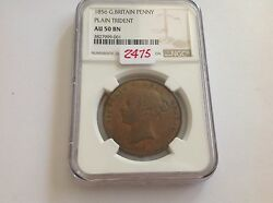 1856 Great Britain Penny Plain Trident Ngc Au 50 Brown