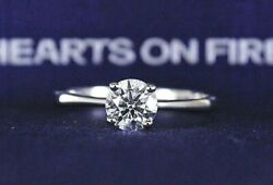 7100 Ags Hearts On Fire 18k White Gold .65ct Round Diamond Engagement Ring Band