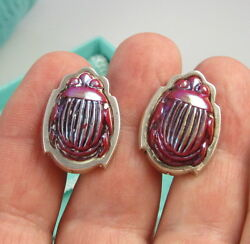 And Co Vintage Sterling Silver Red Favrile Scarab Beetle Clip On Earrings