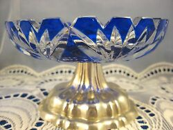 Continental French Sterling Cut To Clear Cobalt Glass Compote Silver Base