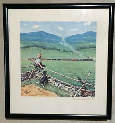 Artist Norman Rockwell Watching The Train Lithograph Print Hand Signed W/ Coa