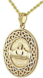 Solid 10g 14k Yellow Gold Irish Celtic Claddagh And Love Knot Pendant Necklace