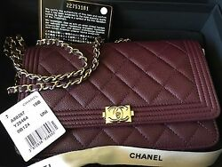 BNWT CHANEL BOY CAVIAR BURGUNDY GOLD HARDWARE WOC WALLET ON CHAIN 2016