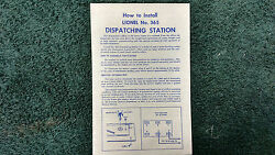 Lionel 365 Dispatching Station Instructions Photocopy