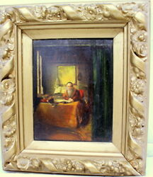 Judaica Antique Oil On Wood Painting Rabbi Studying 12 X 15 Early 18th Century