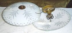 Vintage 17in Grey And White Burst Light Fixture Covers And4 Bulb Union Celing Plates