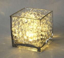 12 Pack 4 Square Vases Bundle With Clear Beads Led Lights Wedding Centerpiece