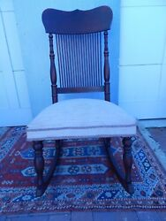 Unique Victorian Dark Mahogany Wood Rocking Chair 38 1/2h By18w By 17d