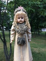 Antique German Paper Mache Doll With Hand Stitched Clothing.