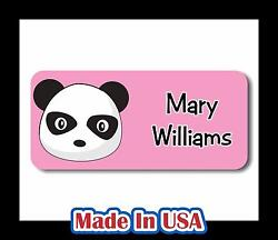 42 Personalized Waterproof Panda Name Labels Stickers Kids Baby Bottle Care Shoe $9.99