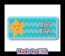 42 Personalized Waterproof Starfish Name Labels Sticker Tag Kids Children Bottle $9.99