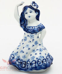 Gzhel Porcelain Victorian Lady In Dress And Flower In Hair Bell Figurine Souvenir
