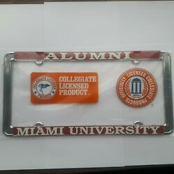 1 - Miami of Ohio Alumni Metal License Plate Frame - Officially Licensed  Chrome