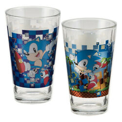 Sonic The Hedgehog Video Game Art 16 Oz Laser Decal Glass Set Of 2, New Unused