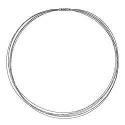 18 Kt White Gold 7 Strand Gold Cable Wire Necklace Bayonet Clasp New 18 New