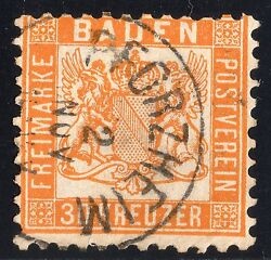 Baden Used Stamp Michel 22a Cat Value 3500 Pforzheim Cancel Germany State