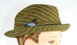 Vtg Green Wool Fedora Hat Size 7 Orange Yellow Feather Decorative Lining Hipster