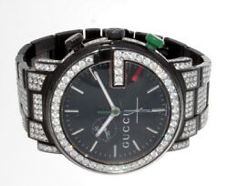 GUCCI CHRONO G WATCH BLACK STAINLESS STEEL & DIAMONDS 10.00 CTS.
