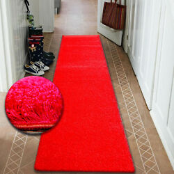 Modern Hall Runners Soft Shaggy Carpet 5cm Red Width From 50cm-200cm Long Rugs