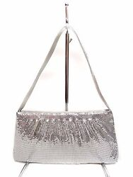 New Evening Bag Unbranded Silver Fabric Man Made Material Top Zip Entry $7.50